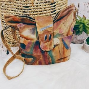 Art To Wear Vintage Hand Painted Gen. Leather Bag